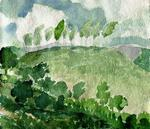 Artist: Walter King, title: Row of Trees, 2008, Watercolor