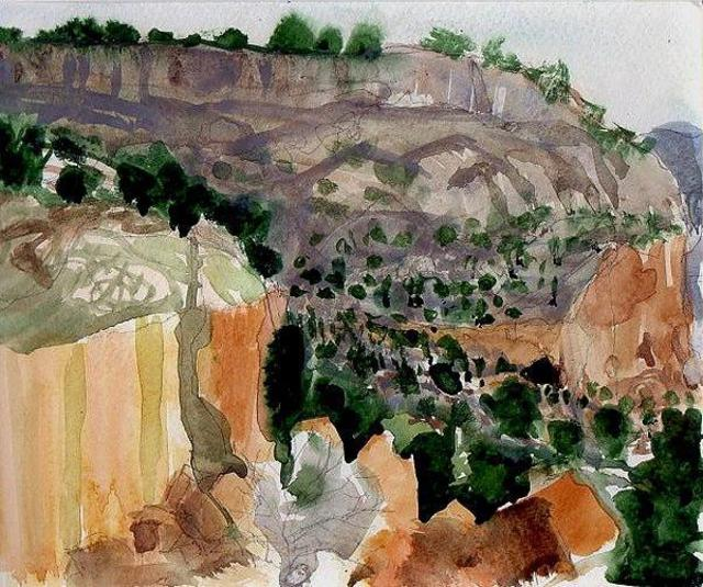 Walter King  'Tsankawi Cliffs Near Bandelier Cliff Dwellings', created in 2013, Original Collage.
