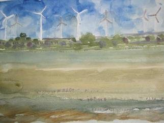 Artist: Walter King - Title: Windmills in the Oklahoma Panhandle - Medium: Watercolor - Year: 2013