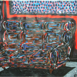 Willie Wambugu Artwork Couch in the light , 2010 Other Painting, Interior
