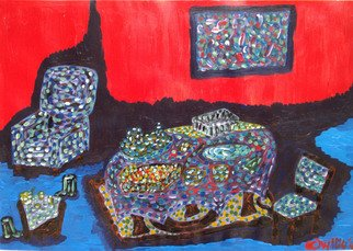 Willie Wambugu: 'Dining time', 2010 Other Painting, Interior.     The setting is around the dining area and the familiar utensils combined with the furniture that characterize the place.  ...