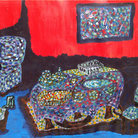 Willie Wambugu Artwork Dining time, 2010 Other Painting, Interior