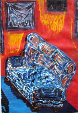 Willie Wambugu: 'Facing the couch', 2010 Other Painting, Interior.  The couch is a household piece of furniture that is both a source of beauty and comfort as well. ...