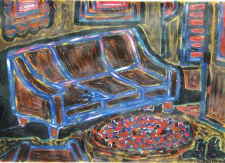 Willie Wambugu: 'New couch painting', 2010 Other Painting, Interior.    The couch is a household piece of furniture that is both a source of beauty and comfort as well.   ...