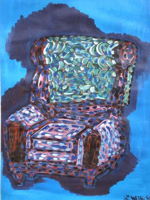 Willie Wambugu: 'Setting the sofa', 2010 Other Painting, Interior.        A sofa, is a seat that offers comfort inside the living room.Placed against a backdrop of light blue paint, the sofa presents rest and serenity. ...