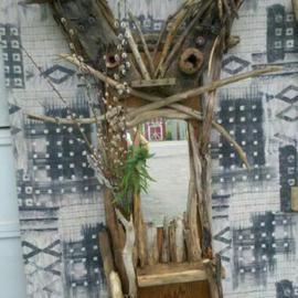 Asa Wood: 'Goofy Gandhi Mirror', 2011 Wood Sculpture, Abstract. Artist Description:     sculptur, figurine, rustic, driftwood, wood carving, porch, patio, garden, tree, last, abstract, nature, natural, outdoors,     ...
