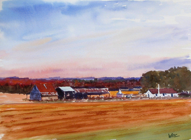 Artist Kenneth Ware. 'Sunset Farm' Artwork Image, Created in 2004, Original Watercolor. #art #artist