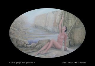 Tonny Warrens: 'cum grege non gradior', 2010 Oil Painting, Surrealism.  female nude oval ...
