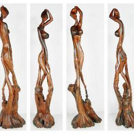 Khurshid Khatak: 'Divine Love', 2003 Wood Sculpture, Fantasy. Artist Description: The Song Of love, My love will hold you and keep you safe and warm, you are the only Oasis in my deserted life. ...