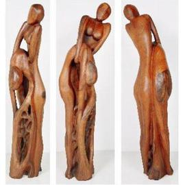 Khurshid Khatak: 'Woman Bhind Man', 2003 Wood Sculpture, Fantasy. Artist Description: She put out her lover from complexity...