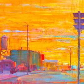 Elizabeth Washburn: 'Alley Scene', 2008 Encaustic Painting, Cityscape. Artist Description:    Cityscape, oil painting, fine art, sunset, color, Elizabeth Washburn, art, diptych   ...