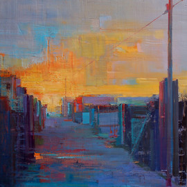 Elizabeth Washburn: 'Alley Scene', 2008 Encaustic Painting, Cityscape. Artist Description:      Cityscape, oil painting, fine art, sunset, color, Elizabeth Washburn, art,      ...