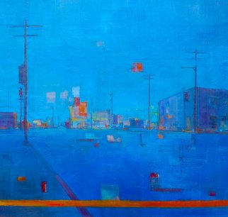 Elizabeth Washburn Artwork City Scene in Blue, 2008 Encaustic Painting, Cityscape