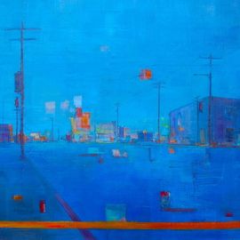 Elizabeth Washburn: 'City Scene in Blue', 2008 Encaustic Painting, Cityscape. Artist Description:   Cityscape, oil painting, fine art, sunset, color, Elizabeth Washburn, art, diptych  ...