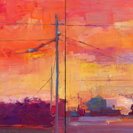 Elizabeth Washburn: 'Collier Avenue', 2008 Encaustic Painting, Cityscape. Artist Description:  Cityscape, oil painting, fine art, sunset, color, Elizabeth Washburn, art, diptych ...