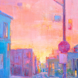 Elizabeth Washburn: 'Low Light', 2008 Encaustic Painting, Cityscape. Artist Description:         Cityscape, oil painting, fine art, sunset, color, Elizabeth Washburn, art,         ...