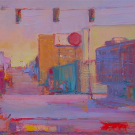 Elizabeth Washburn: 'Street Scene at Dusk', 2008 Encaustic Painting, Cityscape. Artist Description:        Cityscape, oil painting, fine art, sunset, color, Elizabeth Washburn, art,        ...