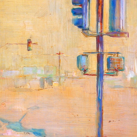Elizabeth Washburn: 'Urban Scene in Yellow', 2008 Encaustic Painting, Cityscape. Artist Description:     Cityscape, oil painting, fine art, sunset, color, Elizabeth Washburn, art,     ...