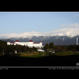 Wayne King: 'Light Fades on Mount Washington', 2008 Color Photograph, Landscape. Artist Description:  Daylight fades on Mount Washington and the famed Mount Washington Hotel at Bretton Woods where the IMF was established. The Mount Washington is one of the last remaining Grand Hotels of the White Mountains which at one time boasted many more. ...