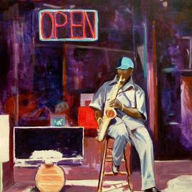 Wayne Wilcox: 'Beale Street Jazz', 2005 Oil Painting, Figurative. Artist Description: Jazz musician on Beale Street Memphis. Currently on exhibit at FedexForum Exeuctive Suite Level. ...