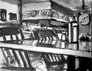 Wayne Wilcox: 'Dyers Interior ', 2006 Other Drawing, Interior.  Inside Dyers Restaurant, Beale Street, Memphis. ...