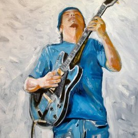 Wayne Wilcox: 'Handy Park Blues Man', 2006 Oil Painting, Figurative. Artist Description: This is a blues player, Johnny Holiday, in Handy Park off of Beale Street, Memphis.  That boy can play!...