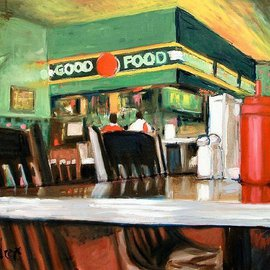 Wayne Wilcox: 'Interior', 2007 Oil Painting, Interior. Artist Description: Dyer' s Restaurant Memphis  ...