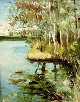 Wayne Wilcox: 'Lake Watercolor Morning', 2004 Oil Painting, Landscape.