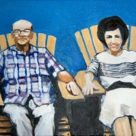 Wayne Wilcox: 'Mitchell and Gussie', 2008 Oil Painting, Portrait.