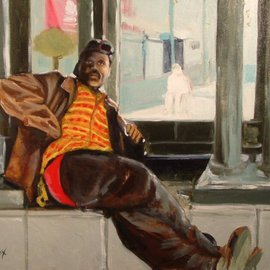 Wayne Wilcox: 'Ricky', 2006 Oil Painting, Portrait. Artist Description: Street guy at Main & Madison Memphis...
