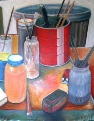 Wayne Wilcox: 'Studio Still Life', 1975 Oil Painting, Representational.