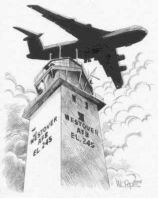 W.c. Pope: 'Westover Old Tower', 2002 Illustration, Military. This is an illustration of Westover Air Reserve Base' s Tower that came down in the summer of 2002. There is a C- 5 Galaxy flying overhead....