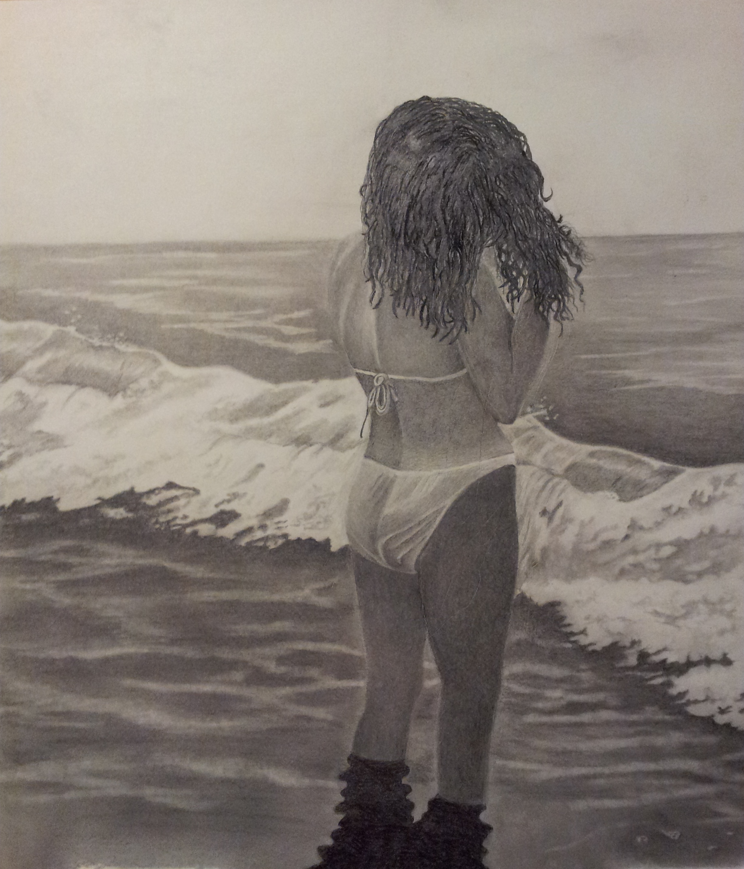 Walter richter watching the waves come in 2013 pencil drawing scenic