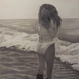 Walter Richter Artwork Watching the waves come in, 2013 Pencil Drawing, Scenic