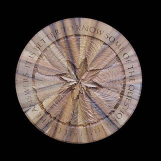 Richard Malacek Artwork 'Aspen', 2006. Woodworking Art. Healing. Artist Description: Rich looking darker cypress and a symmetrical mandala- like pattern work together in this design. Aspen and maple leaves fit well and combine ......