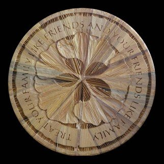 Richard Malacek: 'Friends Family', 2008 Wood Sculpture, Magical. Artist Description:  Gingko leaves again take center stage with an organic raised quote areas acting as a frame. ...