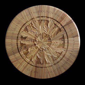 Richard Malacek: 'Surround', 2008 Woodworking Art, Mandala. Artist Description:  Sugar maple leaves form a more traditional mandala- like pattern, symmetrical and repetitive. ...