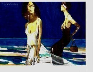 Harry Weisburd Artwork 2 women at the beach, 2013 Watercolor, Figurative