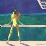 3D  Bikini Babe on Home Deck, overlooking Green Valley By Harry Weisburd