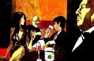 Harry Weisburd Artwork 3 drinks happy hour, 2009 Watercolor, Figurative
