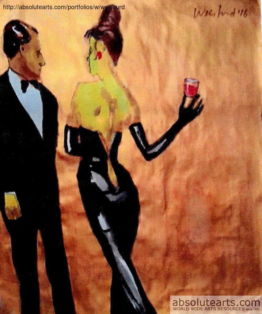 Original watercolor art for sale - Artist Harry Weisburd Title Aglass Of Wine Medium Watercolor Year