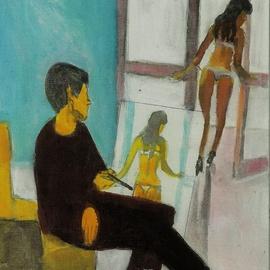 Artist Paints Model