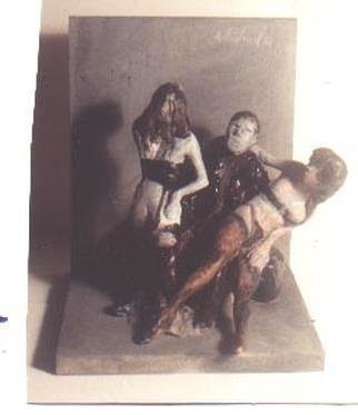 Harry Weisburd: 'Artist and 2 Models', 2001 Ceramic Sculpture, Erotic. Painted Ceramic  and Wood Sculpture  ...