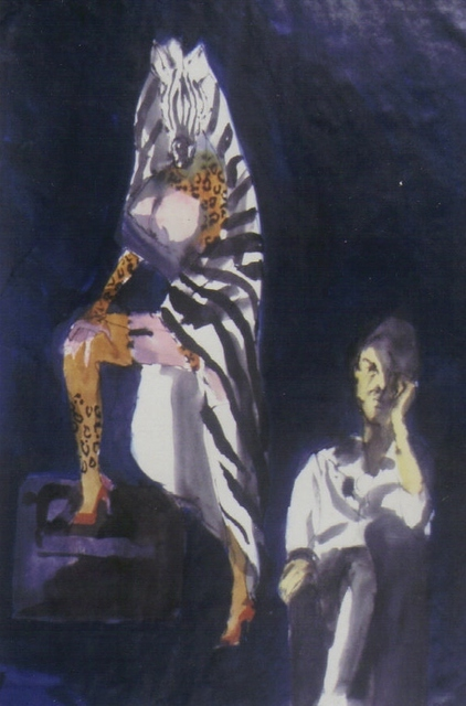 Harry Weisburd  'Artist With Model With Zebra Towel', created in 1998, Original Pottery.