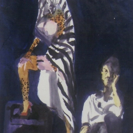 Artist with Model with Zebra Towel  By Harry Weisburd