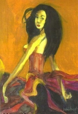 Harry Weisburd: 'Asian Dancer 1', 2008 Watercolor, Dance.  Watercolor on canvas, Chinese Opera performers are not only excellent singers, but must be excellent dancers and good acrobats.Chinese Opera is a 300 year old tradition. ...