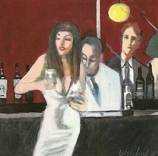 Harry Weisburd: 'BAR FLY IV', 2011 Watercolor, Romance.  Love, Romance, couple, man realism, figurative , female, woman, urbane        ...