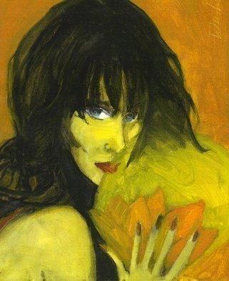 Artist: Harry Weisburd - Title: BRUNETTE WITH LOTUS FLOWER - Medium: Watercolor - Year: 2006