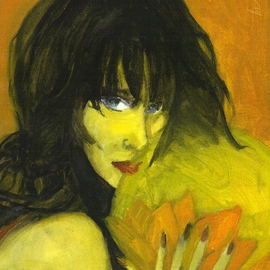 Brunette With Lotus Flower, Harry Weisburd
