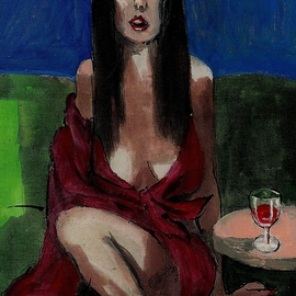 Bar Fly In Red Dress  By Harry Weisburd